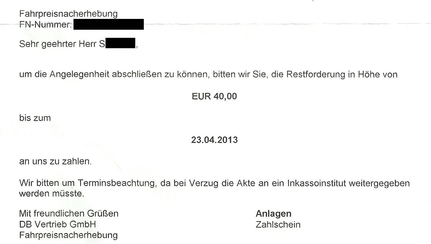 Deutsche Bahn Fahrpreisnacherhebung