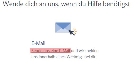 Sende uns eine E-Mail